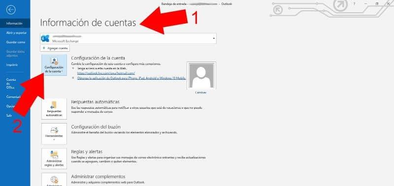 Información de la cuenta de Outlook