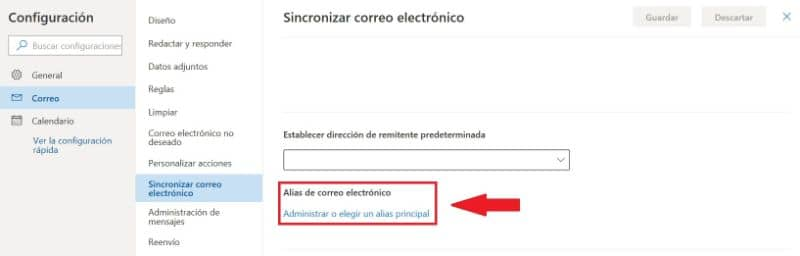 Configuración de alias de correo electrónico