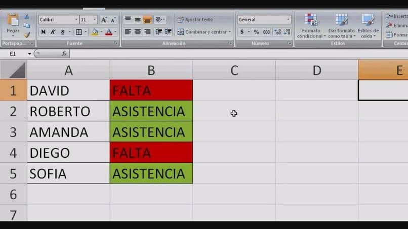 Excel tabla verde rojo