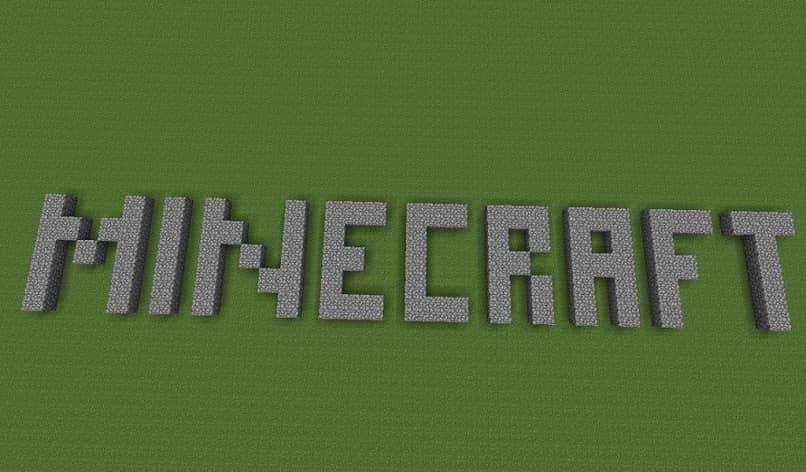 Minecraft escrito en piedra gris