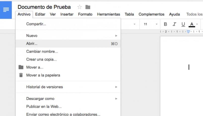 documento de google en blanco