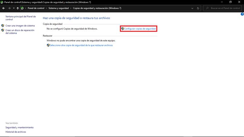 Configurar copias de seguridad