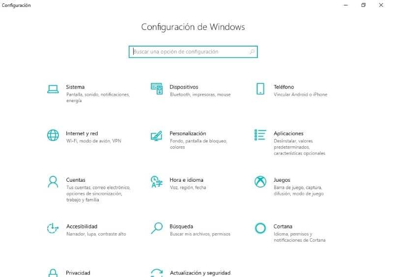 ventana ventana de configuración
