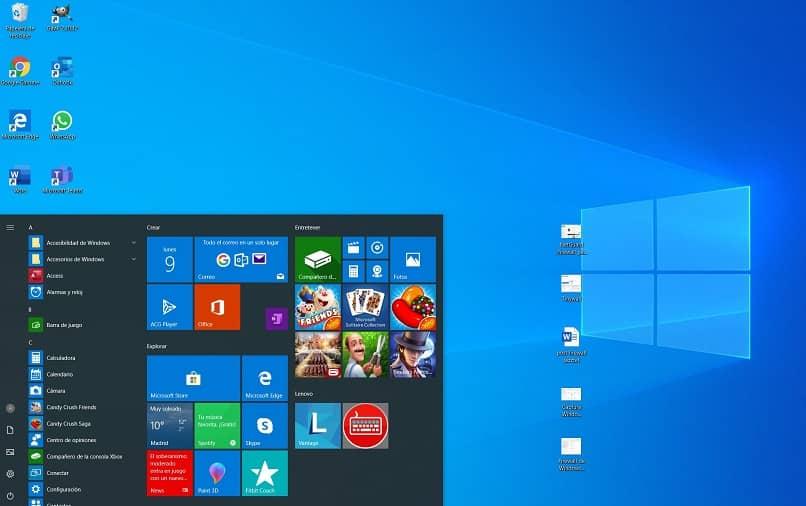 Hogar y escritorio de Windows 10