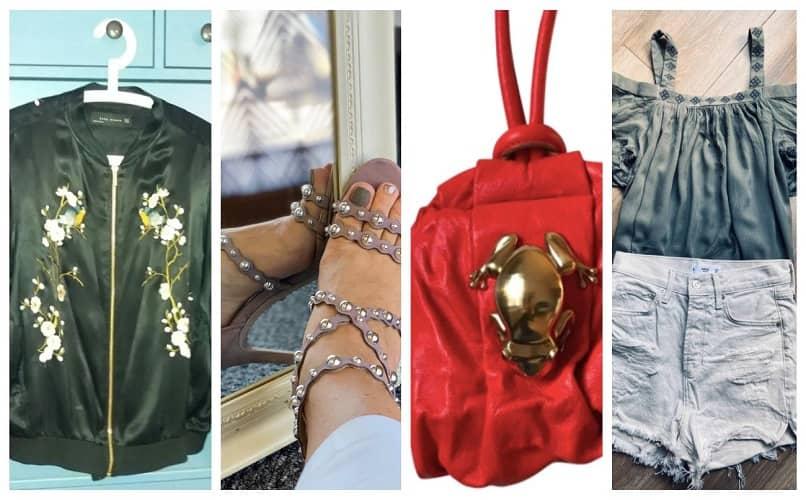 ropa usada y productos de collage