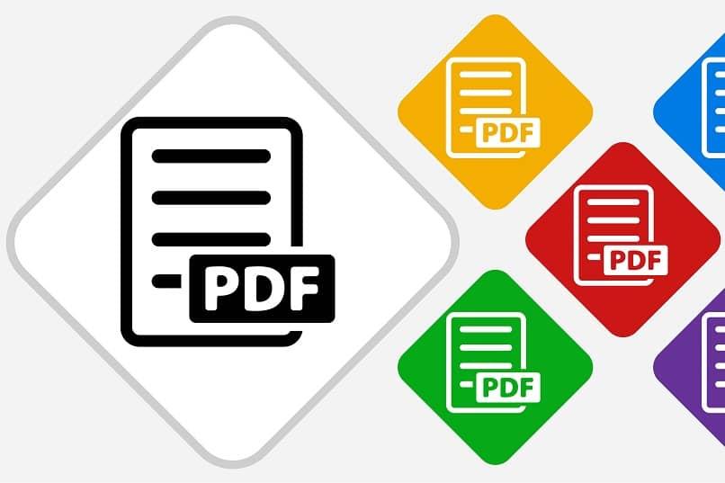 logotipos de archivos pdf en varios colores