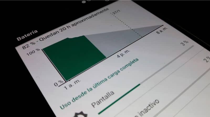 Android, pantalla de batería