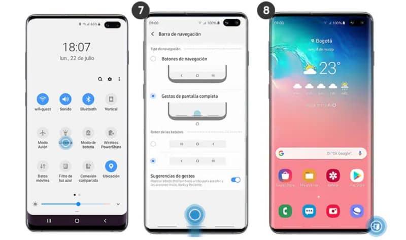 Actividad de gestos de configuración de Android