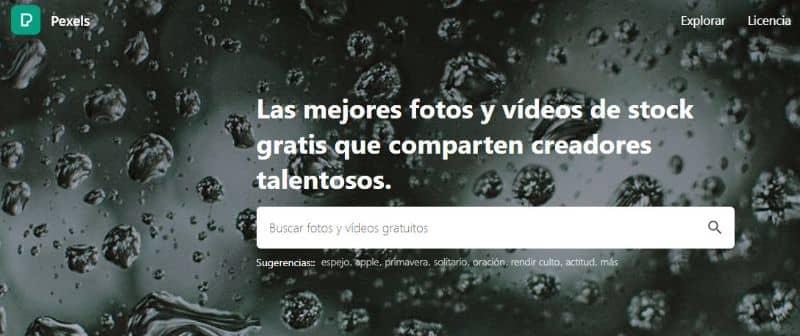 Sitio web de Pexels