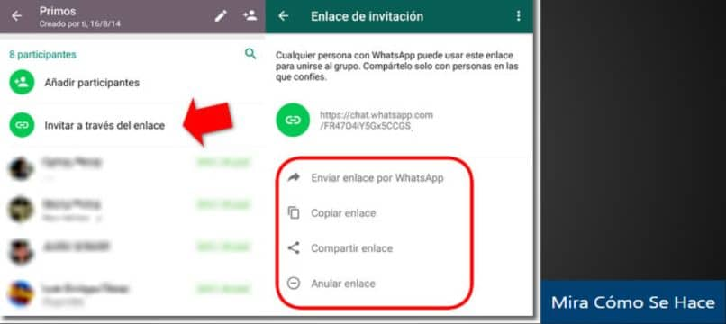 enlace grupo whatsapp rectángulo flecha roja