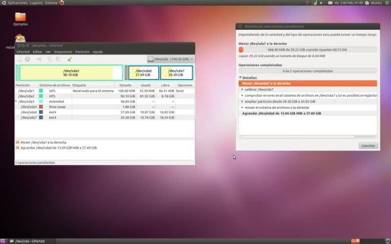 pantalla para cambiar el tamaño de las particiones en ubuntu