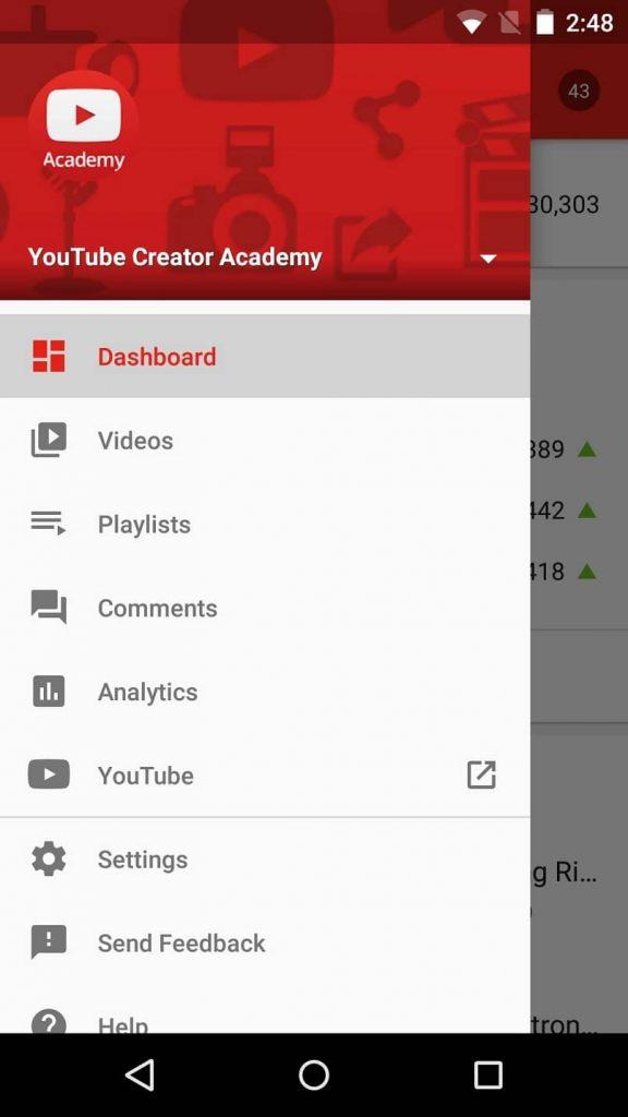 Menú principal de la aplicación YouTube Studio