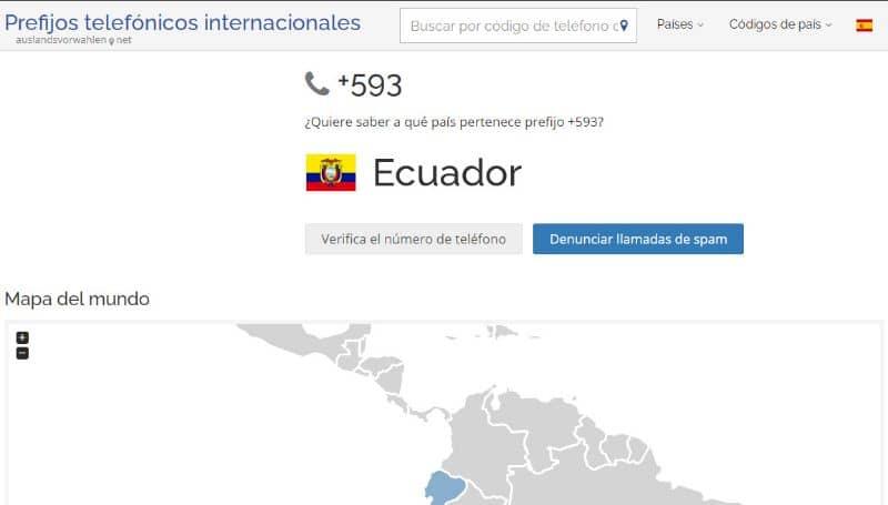 Sitio web de prefijo telefónico internacional