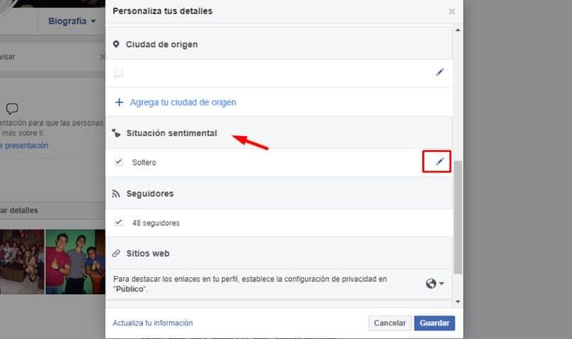 configuración de Facebook de flecha cuadrada