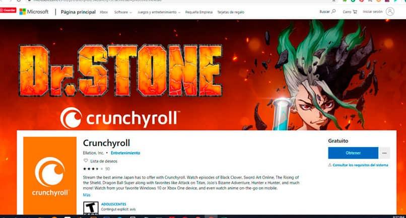 ver contenido de Crunchyroll