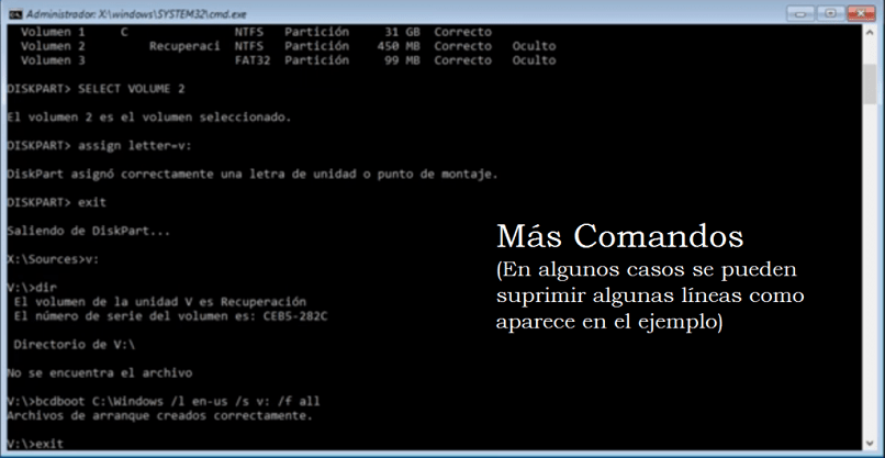 escribir el sistema de ventana de símbolo de comando