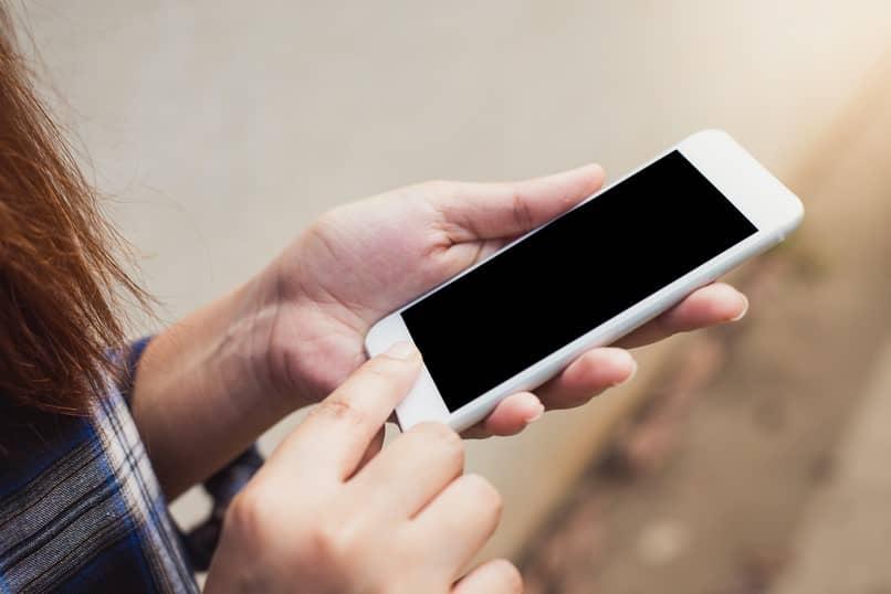 botón móvil de mano activado