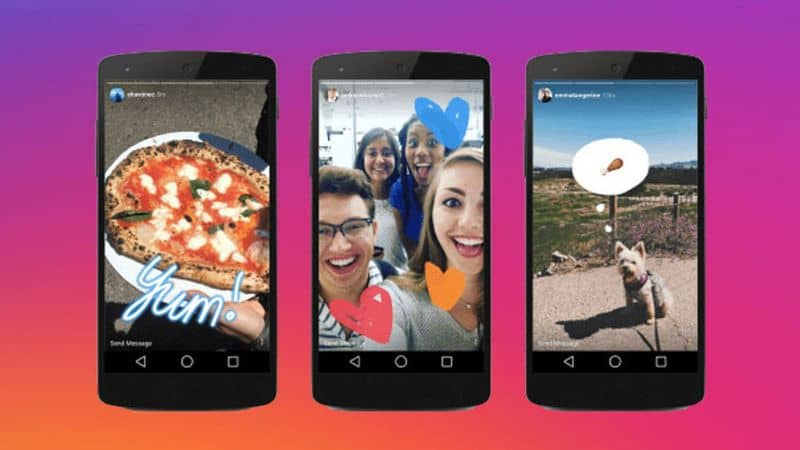 Historias de Instagram en varios teléfonos negros