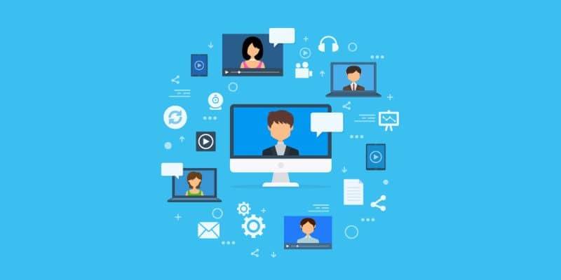 fondo azul y diferentes iconos de pantalla de video portátil, etc.