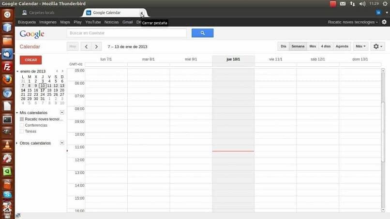 Thunderbird en la opción de sincronización de Google Calendar