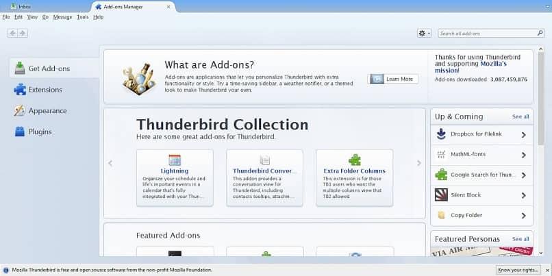 Seleccione Thunderbird en complementos