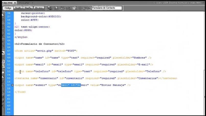 código html para el sitio web