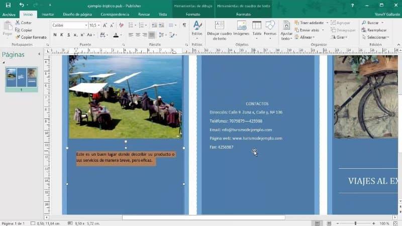 folleto de dos caras con Microsoft Publisher