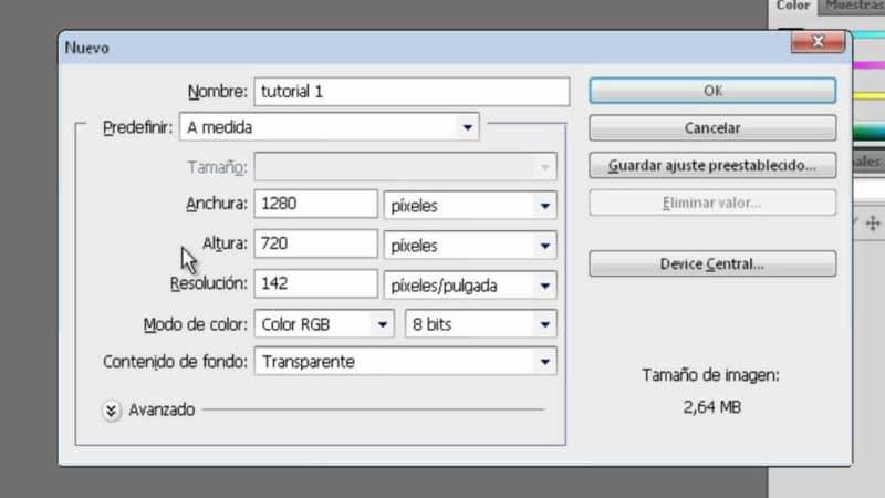 Ajustes para una nueva capa o mesa de trabajo en Adobe Photoshop