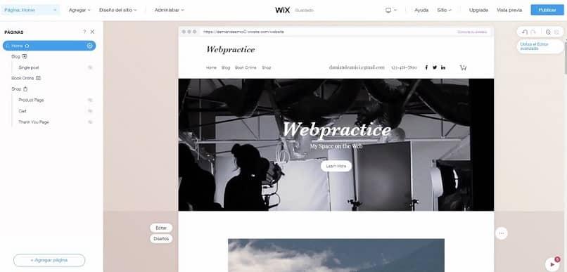 página oficial de wix