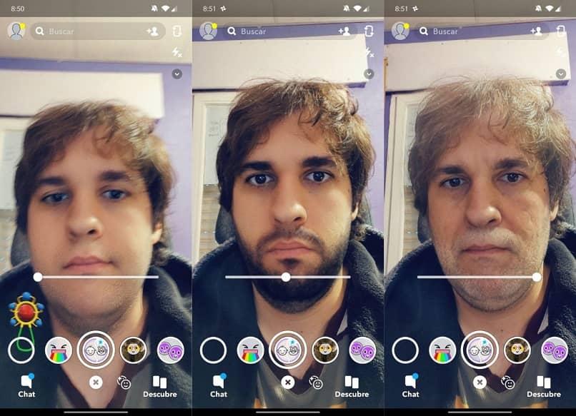 filtros de snapchat de anciano y niño en rostro humano