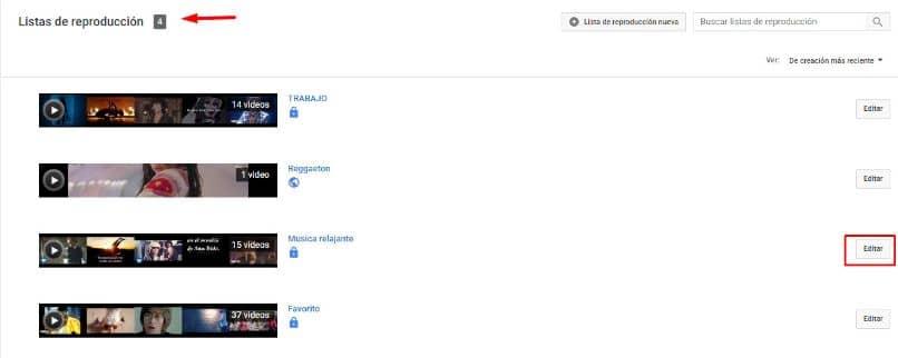 lista de reproducción de youtube