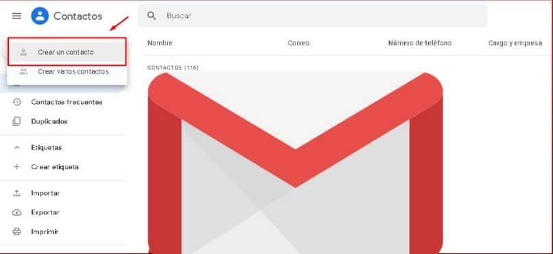 crear un contacto de correo electrónico