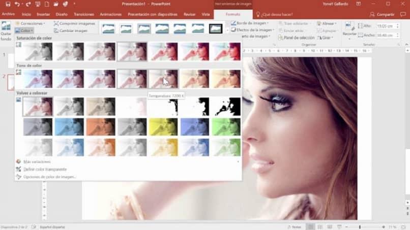 ejemplo para editar los colores de una imagen en el power point
