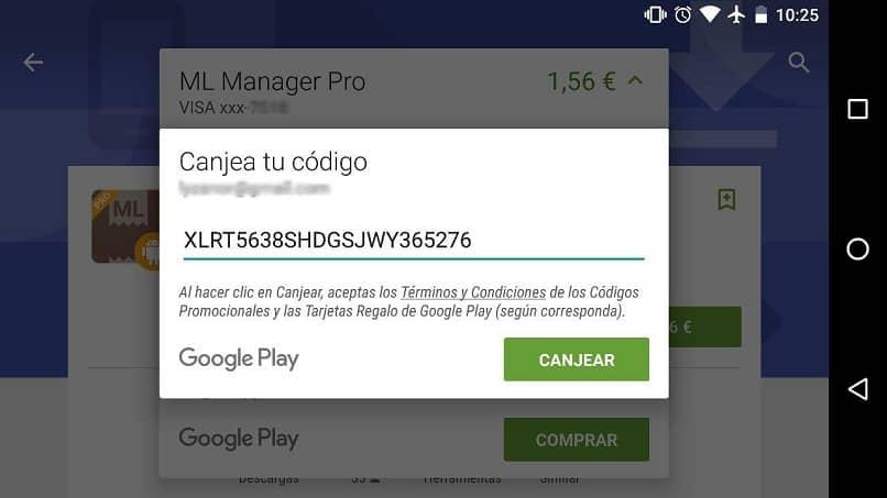 ventana que muestra la contraseña de canje de la tarjeta de regalo de Google Play de forma fácil y rápida