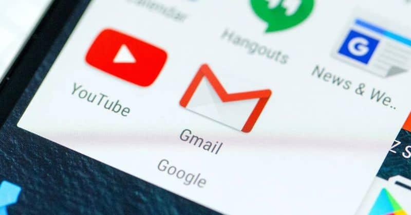 Youtube, iconos de Gmail en Android