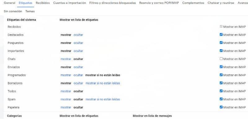Crea etiquetas en Gmail
