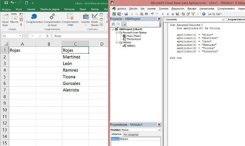 Correcciones al libro de Excel