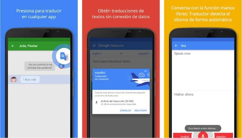 traductor de google para móvil de color plano