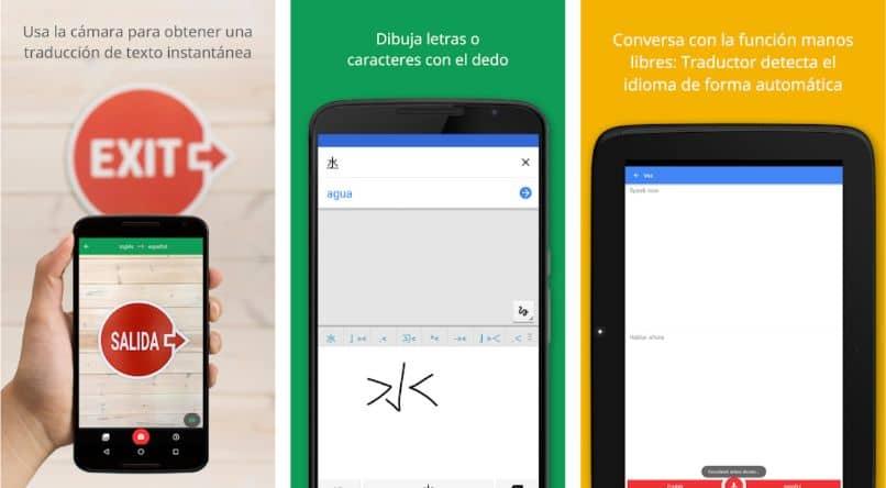 círculo del traductor de google del dedo del teléfono celular