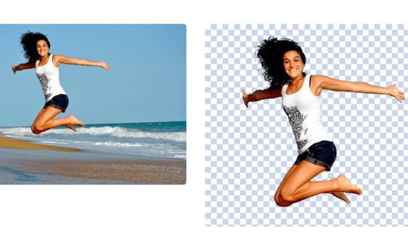 Edición de fotos niña saltando en la playa