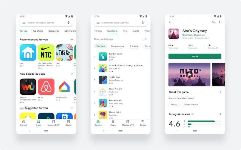 Capturas de pantalla móviles de Google Play Store