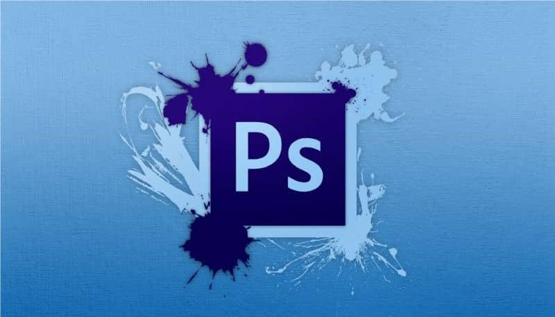 fondo azul claro del logo de photoshop