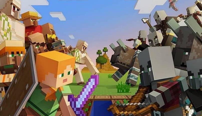 héroes y villanos del juego de minecraft