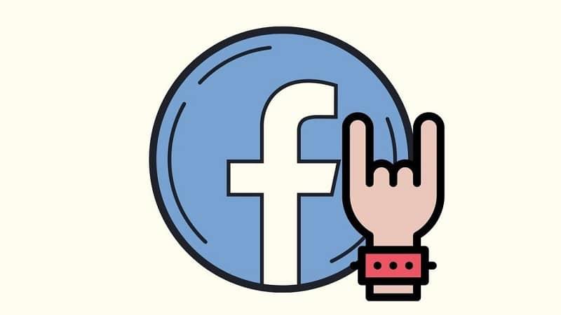 Logotipo de facebook emoji de mano rockera