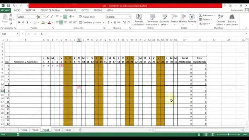 lista de entradas de Excel