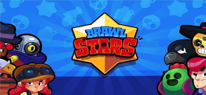 Logo de Brawl Stars en el centro y grupo de diferentes personajes a los lados con fondo azul
