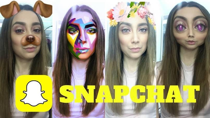 filtros de Snapchat en el rostro de una mujer