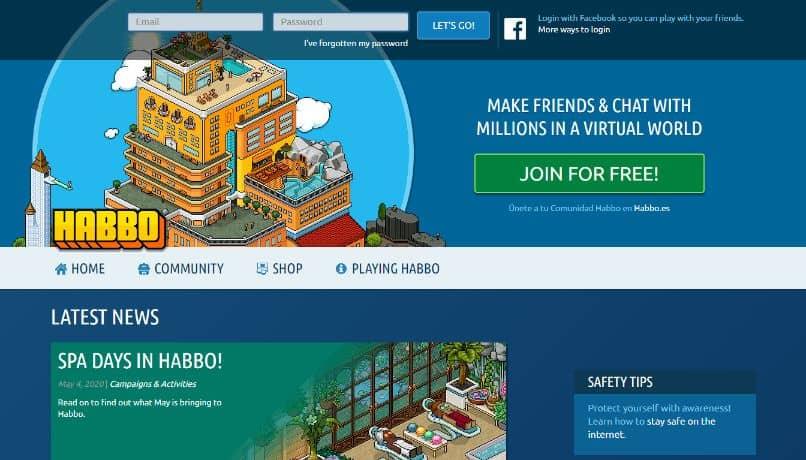 logo del juego haboo hotel facebook fondo azul
