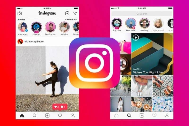 historias y logo de instagram en el móvil