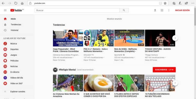 sitio de youtube